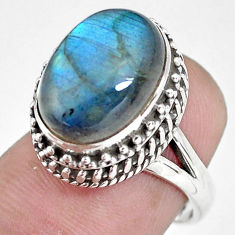 7.35cts natural blue labradorite 925 silver solitaire ring size 6.5 p56688