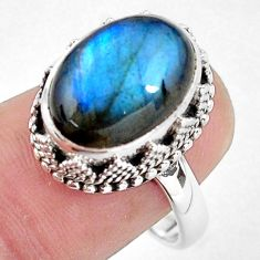7.08cts natural blue labradorite 925 silver solitaire ring size 8.5 p56732