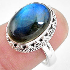 6.76cts natural blue labradorite 925 silver solitaire ring size 7.5 p56733