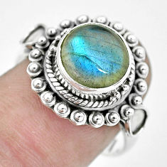 4.93cts natural blue labradorite 925 silver solitaire ring size 7.5 p57669