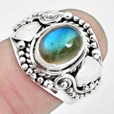 3.16cts natural blue labradorite 925 silver solitaire ring size 7.5 p57693