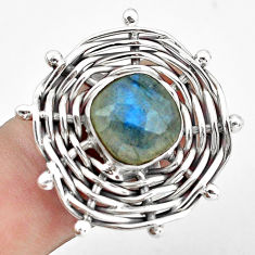 5.62cts natural blue labradorite 925 silver solitaire ring size 7.5 p60919