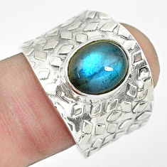 4.40cts natural blue labradorite 925 silver solitaire ring size 8.5 p61396