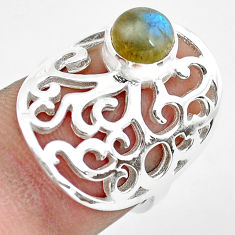 1.11cts natural blue labradorite 925 silver solitaire ring size 5.5 p61771