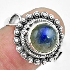 5.24cts natural blue labradorite 925 silver solitaire ring size 6.5 p62959