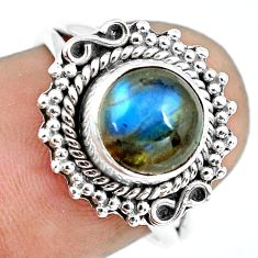 3.11cts natural blue labradorite 925 silver solitaire ring size 6.5 p64308