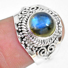 3.01cts natural blue labradorite 925 silver solitaire ring size 6.5 p64325