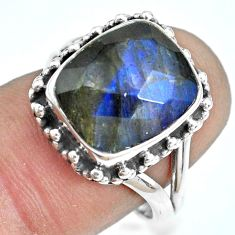 5.31cts natural blue labradorite 925 silver solitaire ring size 6.5 p69977