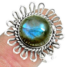 5.79cts natural blue labradorite 925 silver solitaire ring size 7.5 p70057
