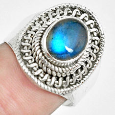 3.13cts natural blue labradorite 925 silver solitaire ring size 7.5 p70171