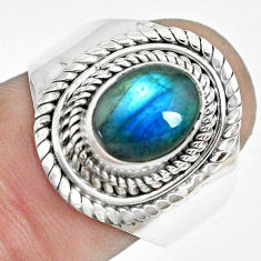 3.16cts natural blue labradorite 925 silver solitaire ring size 8.5 p70178