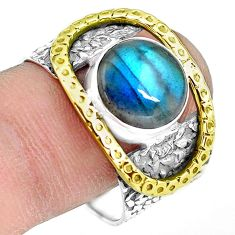 4.86cts natural blue labradorite 925 silver solitaire ring size 9.5 p77135