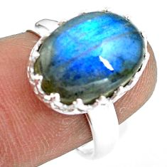 6.85cts natural blue labradorite 925 silver solitaire ring size 7.5 p77219