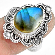 6.46cts natural blue labradorite 925 silver solitaire ring size 9.5 p77250