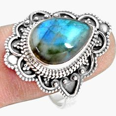 6.62cts natural blue labradorite 925 silver solitaire ring size 10.5 p77260