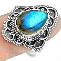 6.58cts natural blue labradorite 925 silver solitaire ring size 9.5 p77283