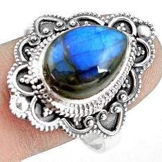 6.48cts natural blue labradorite 925 silver solitaire ring size 10.5 p77297