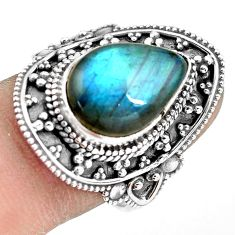 6.89cts natural blue labradorite 925 silver solitaire ring size 8.5 p77299