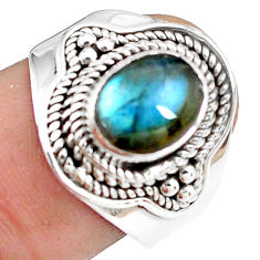 3.29cts natural blue labradorite 925 silver solitaire ring size 8.5 p78761