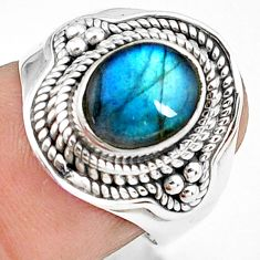 3.02cts natural blue labradorite 925 silver solitaire ring size 6.5 p78781