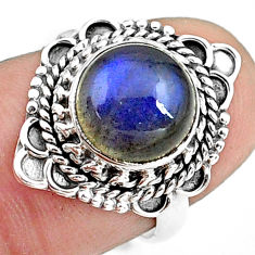 4.82cts natural blue labradorite 925 silver solitaire ring size 6.5 p78815