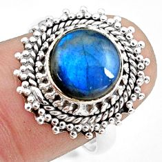 5.11cts natural blue labradorite 925 silver solitaire ring size 8.5 p78817