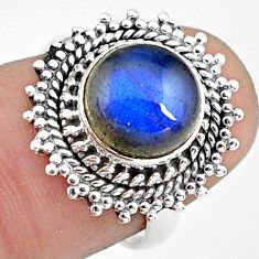 4.92cts natural blue labradorite 925 silver solitaire ring size 6.5 p78830