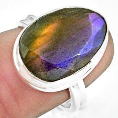 11.19cts natural blue labradorite 925 silver solitaire ring size 7.5 p79012