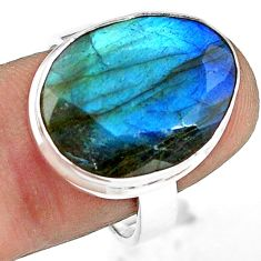 14.26cts natural blue labradorite 925 silver solitaire ring size 8.5 p79016