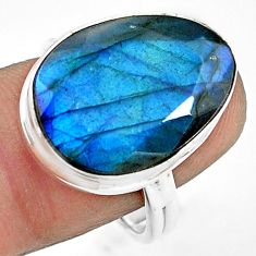 15.44cts natural blue labradorite 925 silver solitaire ring size 9 p79017