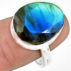 12.29cts natural blue labradorite 925 silver solitaire ring size 8.5 p79019