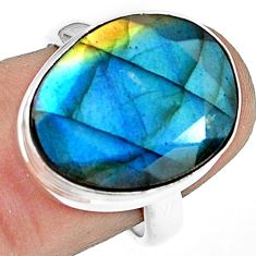 13.26cts natural blue labradorite 925 silver solitaire ring size 7.5 p79020