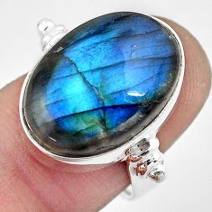 14.12cts natural blue labradorite 925 silver solitaire ring size 6.5 p86727