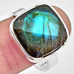 13.71cts natural blue labradorite 925 silver solitaire ring size 9 p86761