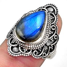 7.03cts natural blue labradorite 925 silver solitaire ring size 7.5 p88292