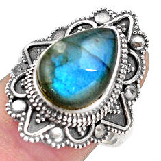 6.61cts natural blue labradorite 925 silver solitaire ring size 8.5 p88298