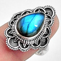 6.58cts natural blue labradorite 925 silver solitaire ring size 8.5 p88302