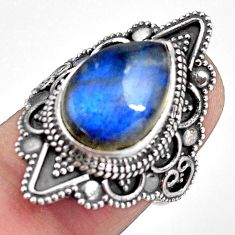 6.48cts natural blue labradorite 925 silver solitaire ring size 6.5 p88310