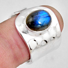4.40cts natural blue labradorite 925 silver solitaire ring size 7.5 p89461
