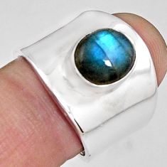 4.71cts natural blue labradorite 925 silver solitaire ring size 7.5 p89470