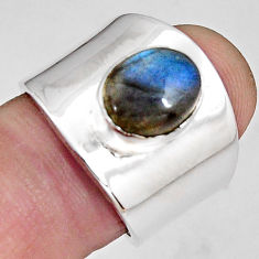 4.70cts natural blue labradorite 925 silver solitaire ring size 6.5 p89471