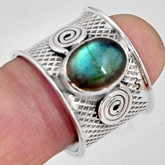 4.37cts natural blue labradorite 925 silver solitaire ring size 7.5 p89476