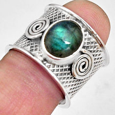 4.38cts natural blue labradorite 925 silver solitaire ring size 7.5 p89478