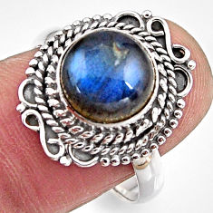 5.11cts natural blue labradorite 925 silver solitaire ring size 8.5 p90945