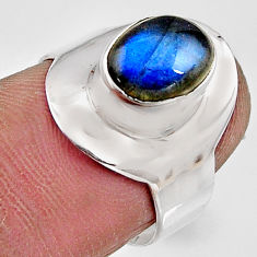 3.51cts natural blue labradorite 925 silver solitaire ring size 6.5 p91111