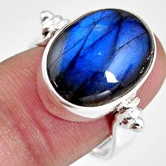 9.39cts natural blue labradorite 925 silver solitaire ring size 7.5 p92305
