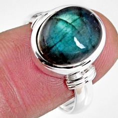 5.41cts natural blue labradorite 925 silver solitaire ring size 7.5 p92309
