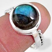 5.36cts natural blue labradorite 925 silver solitaire ring size 6.5 p92323