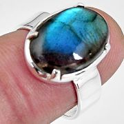6.01cts natural blue labradorite 925 silver solitaire ring size 6.5 p92360
