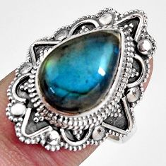6.62cts natural blue labradorite 925 silver solitaire ring size 7.5 p92361